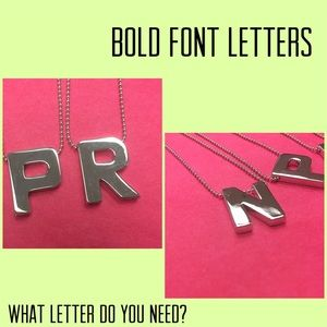 Jewelry - Bold Font Initial Necklaces,NWT Silver or Gold